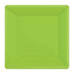 Kiwi Green Square Paper Plates 25cm - 6 PKG/20