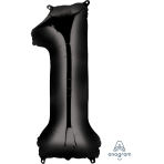 "Number 1 Black SuperShape Foil Balloon - 15""/38cm w x 34""/86cm h P50"