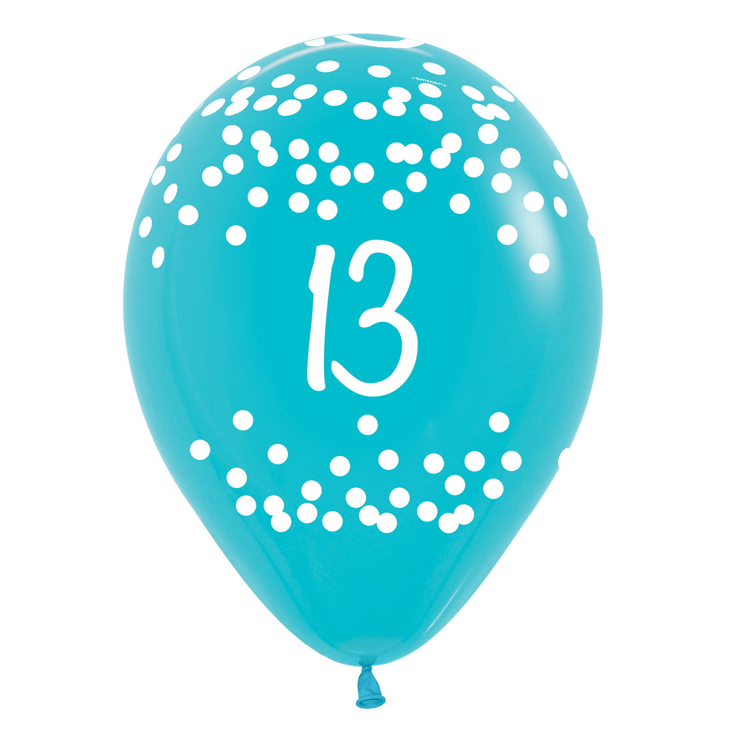 13th Birthday Polka Dots Tropical Assorted Colours Latex Balloons 12 30cm