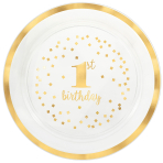 1st Birthday Plastic Hot Stamped Trays 40cm - 12 PC