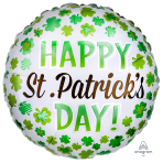 Happy St. Patrick's Day Shamrock Standard Foil Balloons S40 - 5 PC