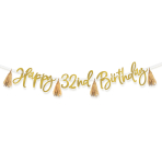 Metallic Gold Add-an-Age Happy Birthday Letter Banners 2.74m - 6 PC