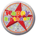 Happy Birthday Holographic Badges 5.5cm - 12 PC