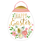 Easter Egg MDF Hanging Signs with Felt Flowers 34cm - 6 PC