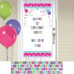 Pink & Teal Happy Birthday Personalise it! Door Decoration Kits - 12 PKG
