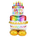 "Birthday Cake AirLoonz Large Foil Balloons 27""/68cm x 53""/134cm P70 - 3 PC"