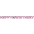 Pink Sparkling Celebration 80th Happy Birthday Prismatic Letter Banners 2.13m x 17cm - 12 PC