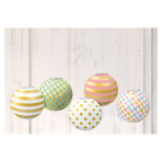 Pastel Hot Stamped Mini Paper Lanterns 12.7cm - 6 PKG/5