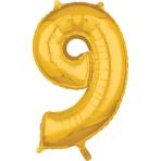 """Number 9 Gold SuperShape Mid-Size Foil Balloons 17""""/43cm w x 26""""/66cm h P31 - 5 PC"""