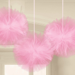 Pink Fluffy Tulle Decorations - 9 PKG/3