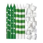 Kiwi Green Dots & Stripes Candles - 12 PKG/12