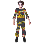 Caution Zombie Costume - Age 12-14 Years - 1 PC