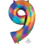 """Number 9 Rainbow Splash SuperShape Foil Balloons 25""""/63cm w x 34""""/86cm h P50 - 5 PC"""