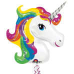 "Rainbow Unicorn SuperShape Foil Balloons 33""/83cm x 29""/73cm P35 - 5 PC"