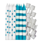 Caribbean Blue Dots & Stripes Candles - 12 PKG/12