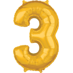 """Number 3 Gold SuperShape Mid-Size Foil Balloons 17""""/43cm w x 26""""/66cm h P31 - 5 PC"""