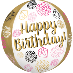 "Happy Birthday Gems Orbz Foil Balloons 15""/38cm w x 16""/40cm h G20 - 5 PC"