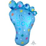 """It's a Boy Foot SuperShape Foil Balloons 23""""/58cm w x 32""""/82cm h P35 - 5 PC"""