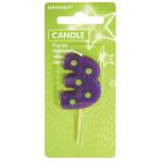 Dots & Stripes Candle Number 3 - 7.6cm 12 PKG