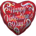 Happy Valentine's Day Swirls Holographic Iridescent Standard HX Foil Balloons S40  - 5 PC