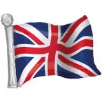 """Great Britain Flag SuperShape Foil Balloons 22""""/56cm w x 27""""/68cm h P30 - 5 PC"""
