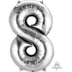 """Number 8 Silver SuperShape Foil Balloons 22""""/55cm w x 35""""/88cm h P50 - 5 PC"""