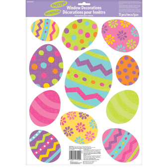 Easter Glitter Vinyl Window Stickers 24 PKG
