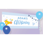 On your Christening Day Blue Personalised Banner 120cm x 45cm - 6 PKG