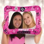 """Sweet 16 Inflatable Foil Selfie Frames 23""""/58cm x 16""""/40cm - 5 PC"""