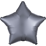 Graphite Star Satin Luxe Standard HX Packaged Foil Balloons S15 - 5 PC