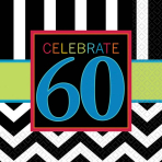 Celebrate 60th Luncheon Napkins 33cm - 12 PKG/16