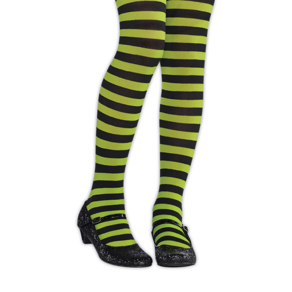 GREEN /& BLACK CHILDREN/'S STRIPED TIGHTS ONE SIZE KIDS CHILD HALLOWEEN ACCESSORY