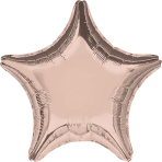 Rose Gold Solid Colour Star Standard Foil Balloons S15 - 10 PC