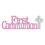 First Communion Pink Glitter Table Decorations - 12 PC