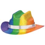 Rainbow Glitter Mini Cowboy Hats 5cm x 12cm - 12 PC