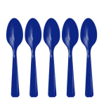 Bright Royal Blue Heavy Weight Plastic Spoons - 12 PKG/48