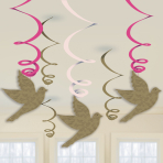 Pink First Holy Communion Swirl Decorations - 6 PKG/6