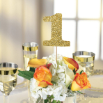 Gold Glitter Table Number Picks - 6 PKG/15