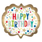 "Gold Satin Marquee Dots SuperShape Foil Balloons 25""/63cm w x 22""/55cm h P35 - 5 PC"