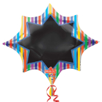 "Multi-Stripe Burst Blackboard SuperShape XL Write-On Foil Balloons 35""/88cm x 29""/73cm P38 - 5 PC"