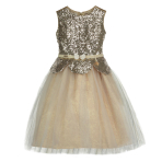 Belle Gold Sequin Peplum Dress - Age 7-8 Years - 1 PC