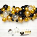 Black Gold & Silver DIY Garland Latex Balloon Kits - 4 PKG/66