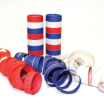 Red, White & Blue Serpentine Rolls  - 4mm x 14mm (9 throws per roll) 24 PKG/3