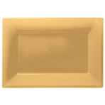 Gold Plastic Serving Platters - 6 PKG/3