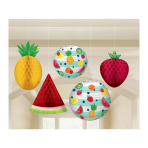 Hawaiian Hanging Honeycomb Fruit Decorations - 6 PKG/5