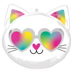 "Cool Kitty Standard Shape XL Foil Balloons 17""/43cm w x 17""/43cm h S50 - 5 PC"