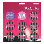 Hen Night Party Badge Sets - 6 PKG/9