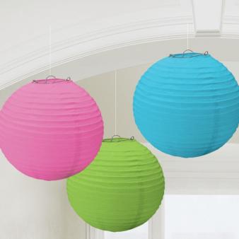 Multi-Colours Paper Lanterns 24cm - 6 PKG/3