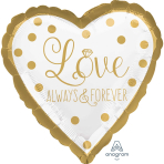 Gold Wedding Standard HX Foil Balloons S40 - 5 PC