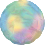 Pastel Rainbow Iridescent Circle Standard HX Packaged Foil Balloons S40 - 5 PC